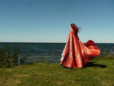"""Wind and Water"" - handwoven Scarlet red cape w/ gold geometric flowers & leaves by DecosaDesign on deviantART"