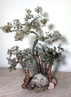 Wire trees, gemstone tree. Labrador stone, aquamarine, quartz-hair-worm. Home design or gift