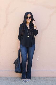 Black Blouse and Bootcut Jeans with Leopard Heels Outfit