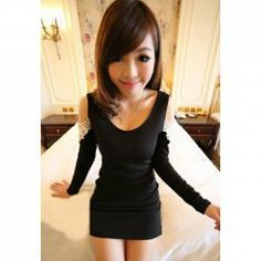 $7.62 Charming Sexy Scoop Neck Long Sleeves Lace Jacquard and Openwork Sleeves Embellished Dress For Women