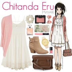 Chitanda Eru [Hyouka] by anggieputeri on Polyvore featuring maurices, Oasis, Witchery, The Cambridge Satchel Company, Komono, Accessorize, Ted Baker, Miss Selfridge, Forever 21 and NARS Cosmetics