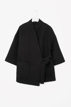 Inspiration Kimono coat COS Wrap-over coat in Black
