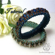 Pdf Tutorial Beadwork Monique Bangle with Silky Beads,  Super Duo Beads, Fire Polish Crystals. English Only, Pattern, Instructions.