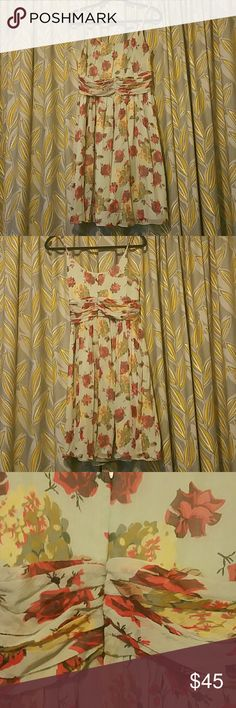 Anthropologie anna sui flower dress 100% mint green with red roses and yellow flowers silk dress lined with polyester, barely worn and very beautiful. no stains or rips. Anthropologie Dresses