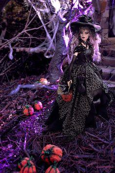 Enchanted Halloween Witch OOAK doll - disponible/available Barbie Halloween, Halloween Fashion, Halloween Dress, Halloween Witches, Halloween Crafts, Happy Halloween, Ballerinas, Barbies Pics, Barbie Diorama