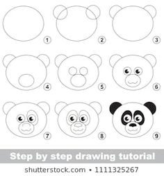 Kid game to develop drawing skill with easy gaming level for preschool kids, drawing educational tutorial for Panda Face , Drawing Lessons For Kids, Easy Drawings For Kids, Drawing Skills, Drawing Tips, Art Lessons, Easy Drawing Steps, Step By Step Drawing, Doodle Drawings, Doodle Art