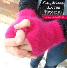 patrón de guantes sin dedos - hacen de tamaño personalizado!  #textinggloves #winter PatchworkPosse #freepattern