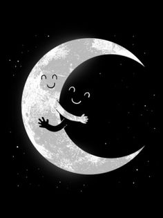 Lieve poster voor in de kinderkamer  Ietje Negative Space Art, Stars And Moon, Good Night, Dark Night, Hug Illustration, Moon Print, Moon Design, Black And White Artwork, Black White
