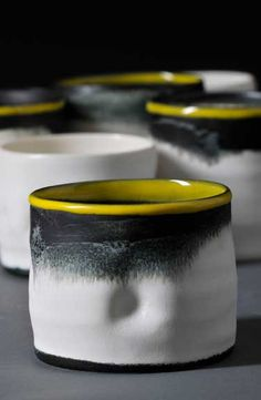 KYRA CANE CERAMICS. Cane's pots are inspired by her observations of landscape and weather patterns. They range from large vigorously thrown pieces to small intimate pots, the surface of which is animated by a series of marks and subtle textures. She makes her work in series, being constantly engaged by subtle variations between each form. Photos: Sussie Ahlburg