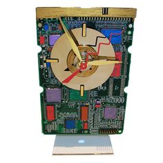 Hand Painted Circuit Board Clock with Laptop Disk