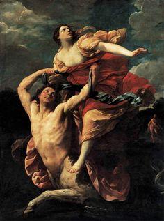 """"""" The Rape Of Deianira """" 1617-1619 Artist: Guido Reni Style: Baroque Genre : Mythological painting Location: Musée du Louvre , Paris , France"""
