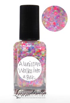 Um... if I ever find this I must have it! A Unicorn Walks into a Bar... is basically a Lisa Frank sticker book realized in nail polish. It contains a rainbow of assorted translucent neon hexagons with translucent white squares, stars, moons, hexes and hearts in a blue-violet-shimmered base. Accented with iridescent blue sparks.