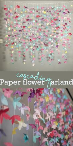 Cascading paper flower garland is beautiful for wedding ceremony backdrop/reception decor, as a window display for a store, or as wall decor in the home | DIY paper flower #Ad