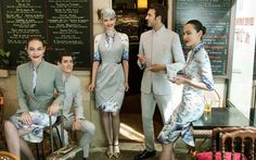 Hainan Airlines collaborated with designer Laurence Xu who introduced the new uniforms at the Paris Couture Week. Inspired by traditional Chinese dress, the uniform blends modern Western-style fash… Corporate Uniforms, Airline Uniforms, Couture Week, Hainan Airlines, Bali, Haute Couture Looks, Uniform Design, Flight Attendant, Catwalks