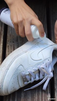 Here's how I clean my Yeezys and Air Force with Jason Markk foam cleaner. - Here's how I clean my Yeezys and Air Force with Jason Markk foam cleaner, standard cleaning - Nike Air Force 1 Outfit, Air Force One Shoes, Nike Air Force Ones, Air Force 1 High, White Nike Shoes, Nike Air Shoes, White Nikes, Nike Socks, How To Clean White Shoes