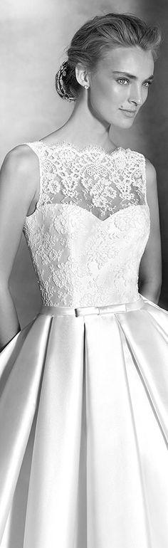 pronovias 2016 bridal atelier iziar haute couture wedding dress mikado silk lace bodice #weddingdresses #weddingdress