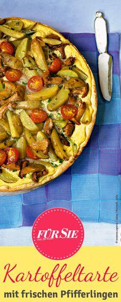 Dieses Rezept für eine leckere Kartoffel-Pilz-Tarte wird mit frischen… Food Porn, Vegetable Pizza, Tacos, Deserts, Mexican, Vegetables, Cooking, Ethnic Recipes, Vegan