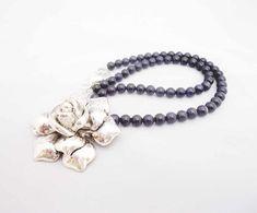 Blue Golden Sand Necklace with Big Rose Pendant, Dark Blue Necklace, Gemstone Blue Necklace, Gemstone Necklace, Tassel Necklace, Pendant Necklace, Dark Blue, Gemstones, Beads, Rose, Big