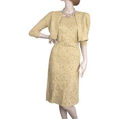 1950's Gold Ribbon Dress & Jacket *Exquisite Construction