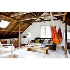 Another indoor hammock. I like the color and design of this one, but I like the library location of the indoor hammock that I pinned previously. Attic Spaces, Attic Rooms, Attic Loft, Attic Bathroom, Attic House, Attic Library, Attic Playroom, Attic Apartment, Upstairs Loft