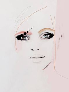 Kiss Kiss - Fashion Illustration Art Print ,Portrait, Mixed Media Painting by Leigh Viner #portrait #fashionillustration #art #wallart #woman