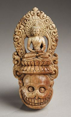"virtual-artifacts: ""Nepal, Ritual Diadem Plaque with a Buddha Surmounting a Skull, century Ivory, Purchased with funds provided by the Estate of Charles K. Buddha, Tibetan Art, Masks Art, Buddhist Art, Skull And Bones, Western Art, Ancient Art, Archaeology, Lion Sculpture"