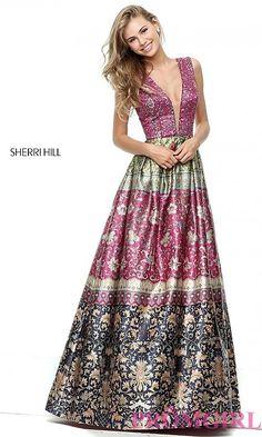 Deep V-Neck Print A-Line Prom Dress