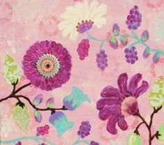 whimsical flower art | Pink, Whimsical Flower Original Painting, Jester's Garden