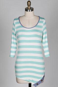 3/4 Sleeve Button Hem Tunic