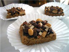 Chocolaty Peanut Pretzel Bars  2 1/2c refrigerated chocolate chip cookie dough, 1 1/2 c (9 oz) semi-sweet choc chips, 1 c SOH Minis (~18 pretzels), broken into 1/2-in pieces, 1c honey-roasted peanuts. Preheat oven to 350º F. Grease 13 x 9-in baking pan. Place cookie dough in prepared pan. Using fingertips, pat dough gently to cover bottom. Sprinkle choc chips, pretzel pieces & peanuts over dough & press down evenly. Bake for 25 min or until browned around edge. Cool completely & Cut into bars.