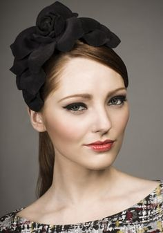 Rachel Trevor Morgan - Charcoal felt flower headpiece