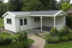 Kunststof tuinhuis met veranda | Kunststof blokhut met veranda | Kunststof tuinhuis met overkapping | Kunststof blokhut | Kunststof garage | Kunststof chalet | Kunststof tuinhuizen | ROMAHAUS