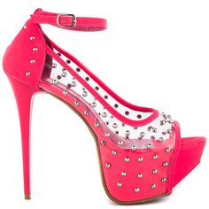 You can't help but marvel over the Promise Manvel pump.  A clear synthetic upper features edgy studs throughout and skinny adjustable ankle strap.  A tall 5 1/2 inch heel and 2 inch platform is enveloped in a bright hot pink shade.