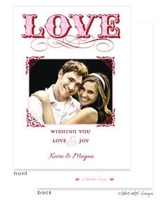 Take Note Designs | Valentines Day | LOVE Elegant Frame Flat Digital Photo Card (Take Note) | The PrintsWell Store