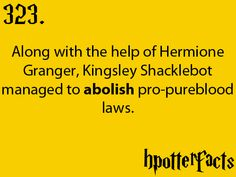 Harry Potter Facts #323:    Along with the help of Hermione Granger, Kingsley Shacklebolt managed to abolish pro-pureblood laws.