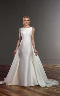 344 best modern and simple wedding dresses images on pinterest 843 wedding dress with detachable train by martina liana junglespirit Choice Image