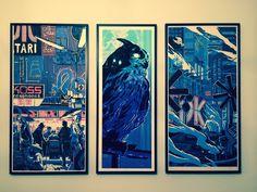 "40"" Blade Runner Triptych by Tim Doyle : Cyberpunk"