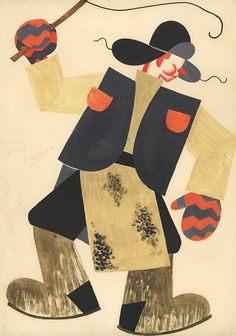 "Tatiana Bruni ""Carter"" Costume Design 1931 Paper, gouache, watercolour, appliqué 49 x 34,7 cm"