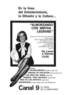 Publicidad del programa de Mirtha Legrand. CANAL 9, Buenos Aires, 1969.
