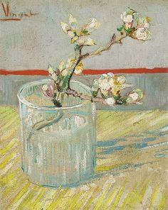 Vincent van Gogh, Bloeiend amandeltakje in een glas, 1888, olieverf op doek, 24 x 19 cm, Van Gogh Museum, Amsterdam http://www.artsalonholland.nl/meesterwerken/van-gogh-bloeiend-amandeltakje-in-een-glas