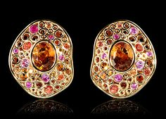 Mousson atelier, collection Bubbles, earrings, Yellow gold 750, Citrine, Multicolored sapphires