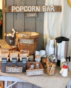 A Popcorn Bar! Such a fantastic idea. Love any kind of bar or buffet where guests can customize-- takes something as easy unfussy as popcorn and elevates it. Peanuts candies as add-ins, various seasonings. And who doesnt love popcorn? Wedding Popcorn Bar, Popcorn Bar Party, Pop Popcorn, Bar A Bonbon, Food Stations, Candy Stations, Doritos, Grad Parties, Office Parties