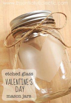 Etched Glass Valentine's Day Mason Jars