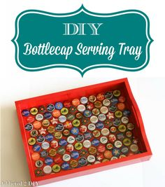 Bottlecap Serving Tray This tray is so simple to make with only a few supplies! Such a fun idea for entertaining or gifts.This tray is so simple to make with only a few supplies! Such a fun idea for entertaining or gifts. Bottle Cap Projects, Bottle Cap Crafts, Diy Bottle, Cork Crafts, Crafts To Do, Recycling, Diy Inspiration, Bottle Cap Art, Beer Caps