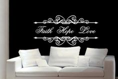 Christian Wall Decal Wall Decal Faith by CuttinUpCustomDieCut Bathroom Wall Decals, Vinyl Wall Decals, Christian Wall Decals, Faith Hope Love, Where The Heart Is, Us Images, Projects To Try, Room Ideas, Decor Ideas