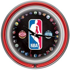 Check out the Trademark Home NBA1400-NBA NBA Logo 30 Team Chrome Double Ring Neon Clock priced at $89.95 at Homeclick.com.