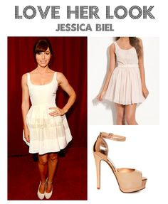Jessica Biel shined at the Espy Awards in Dior. Can't afford Dior? Get the Look for Less!  Dress- Nordstrom BP  Pumps- Lulu's