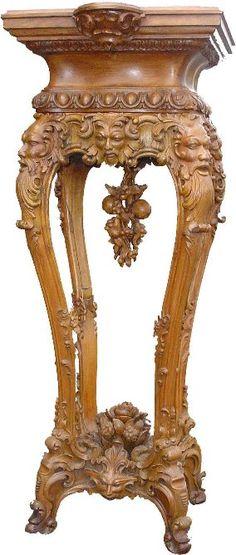 Alexander Roux Intricately Carved Pedestal.
