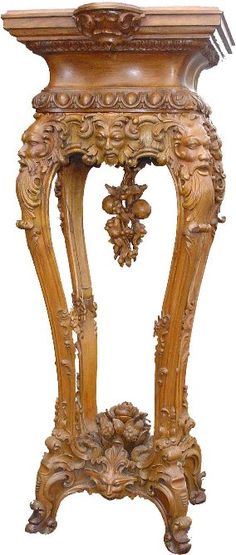Alexander Roux Intricately Carved Pedestal.