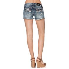 Miss Me Women's Flag Cut-Off Denim Shorts - Flag leather details on the front and the back. So cute!